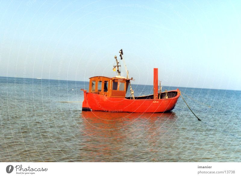 fishing boat Watercraft Fishing boat Red Ocean Beach Summer Europe Baltic Sea