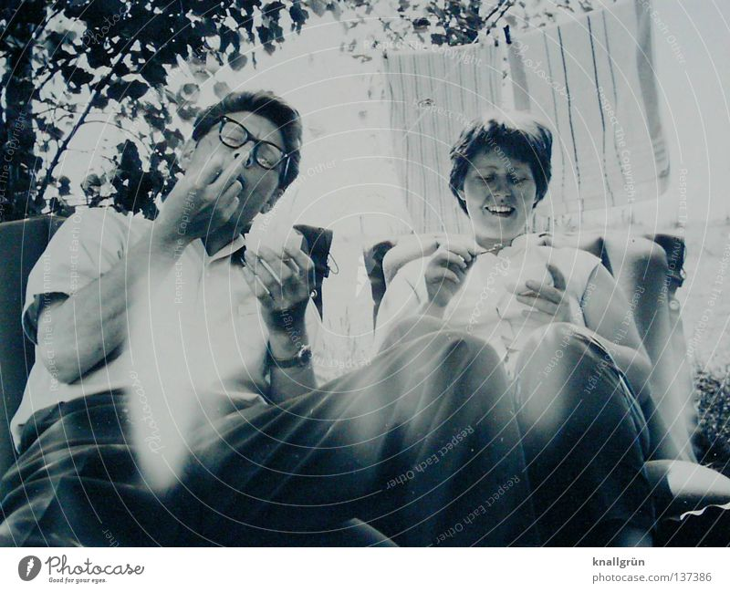 Happy times Sixties Camping Vacation & Travel Clothesline Towel Contentment Man Woman 2 Summer Married Air mattress Joy Black & white photo Ice ice cream Sit
