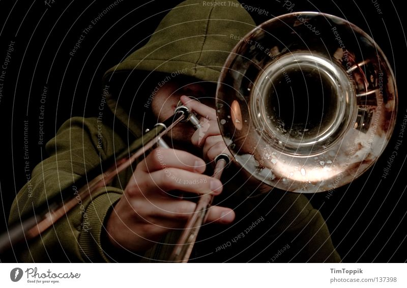 MC Radetzky Trombone Trombonist Funnel Blow Tin Brass instrument Trumpet Tuba Cor anglais Hooded (clothing) Hooded sweater Railroad Loud Ghetto Disc jockey