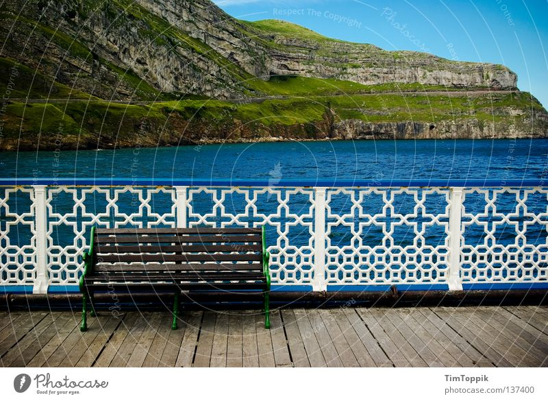 Water Sky Ocean Beach Vacation & Travel Calm Loneliness Relaxation Landscape Coast Rock Bench Footbridge Fence Jetty England