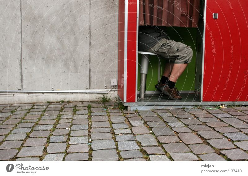 Man Red Wall (barrier) Legs Footwear Sit Wait Photography Speed Camera Pants Services Cobblestones Drape Obscure