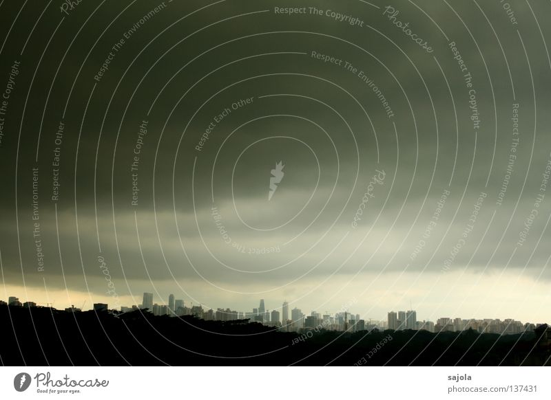 Sky City Clouds Dark Gray Rain Moody Wet High-rise Horizon Vantage point Threat Asia Skyline Countries Singapore