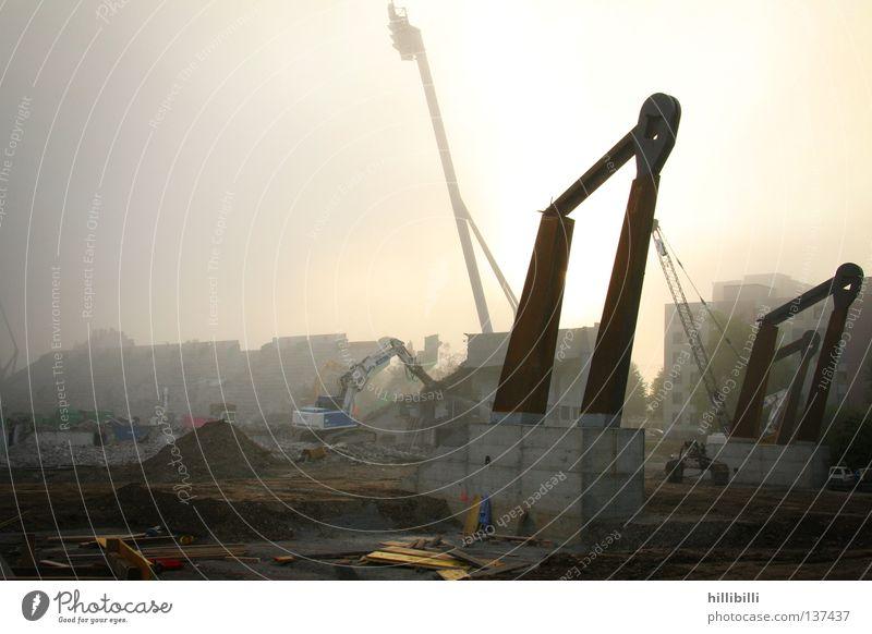 Fog Derelict Column Crane Floodlight Stadium Excavator Zurich