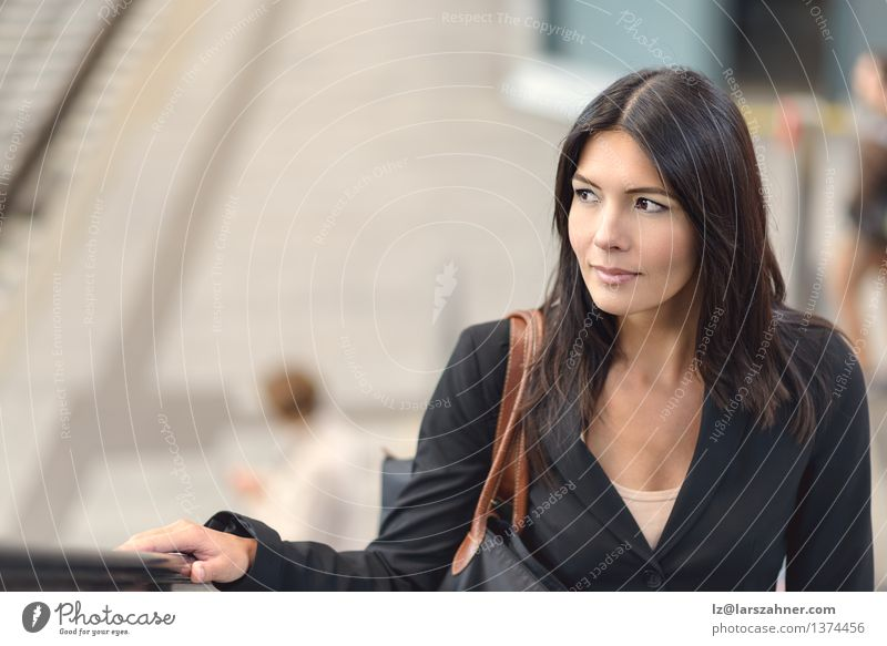 Woman on escalator Shopping Happy Face Calm Business Adults Hand Architecture Transport Escalator Brunette Friendliness Self-confident Ascending attractive
