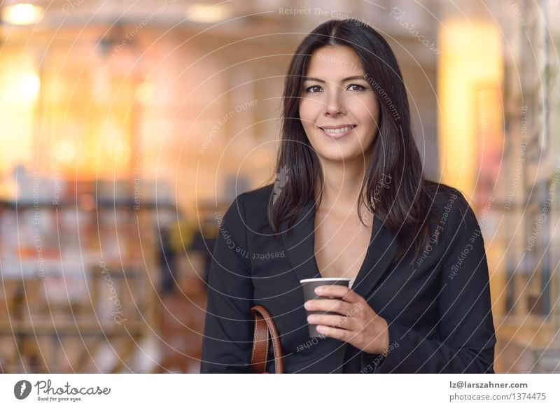 Smiling Businesswoman with Coffee Sitting on Bench Espresso Beautiful Face Woman Adults Brunette Paper Wait Black Self-confident attractive bag break