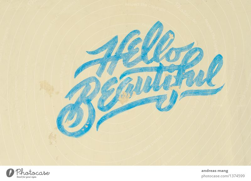 #308 / Hello beautiful Style Design Beautiful Art Culture Subculture Graffiti Wall (barrier) Wall (building) Write Old Simple Exotic Rebellious Retro Town