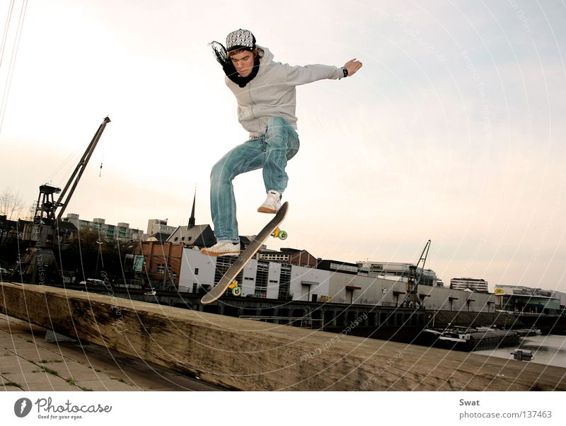 ready for take off Skateboarding Sunset Jump Style Sports Playing boarder Harbour Coil olli