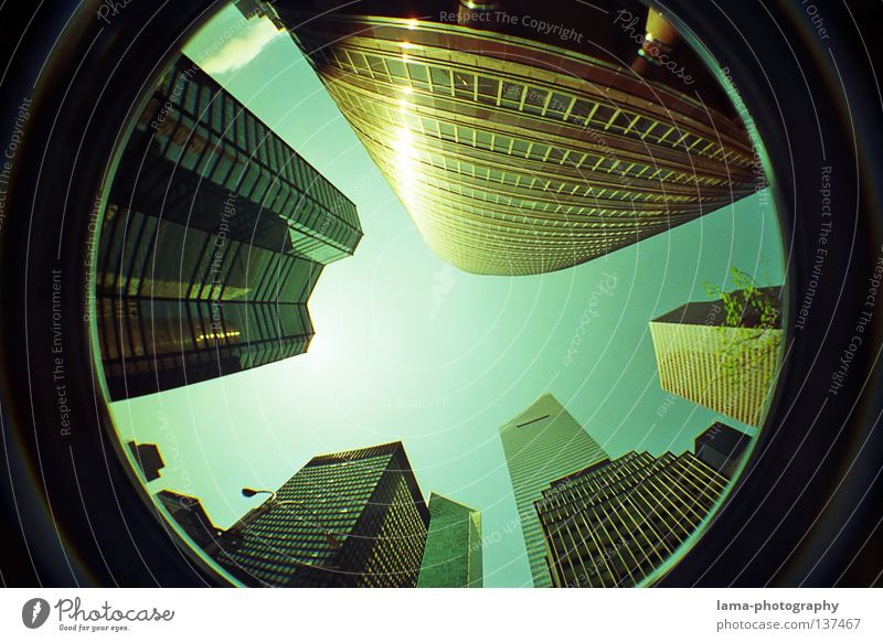 Sky City Sun House (Residential Structure) Window Tall Large High-rise Circle Round USA Level Fisheye Sphere Analog Snapshot