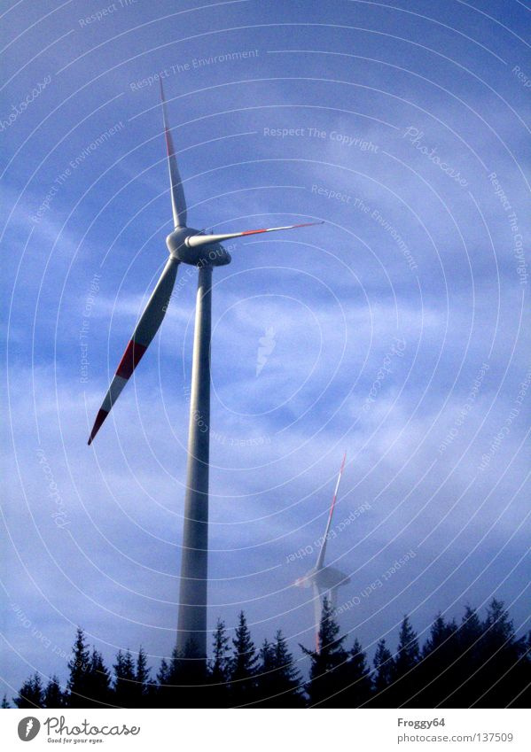 whisk Wind energy plant Forest Clouds Energy Alternative White Black Wind direction Industry Aviation Sky Rotor Mountain Technology Blue Weather wind indicator