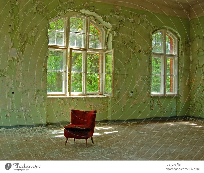 sanatorium House (Residential Structure) Furniture Armchair Chair Room Ruin Building Window Old Creepy Broken Green Red Loneliness Fear Colour Seating Plaster