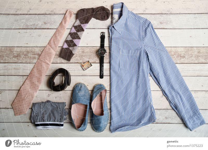 Super still life - Men Fashion Shopping Design knolling Super Still Life Tie Underpants Footwear Shirt Wristwatch Belt socks matches Colour photo Studio shot