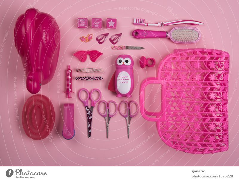 Super still life in pink Stationery Toys Watering can Hairbrush Toothbrush Kitsch Odds and ends Souvenir Collection Collector's item Metal Plastic Glittering