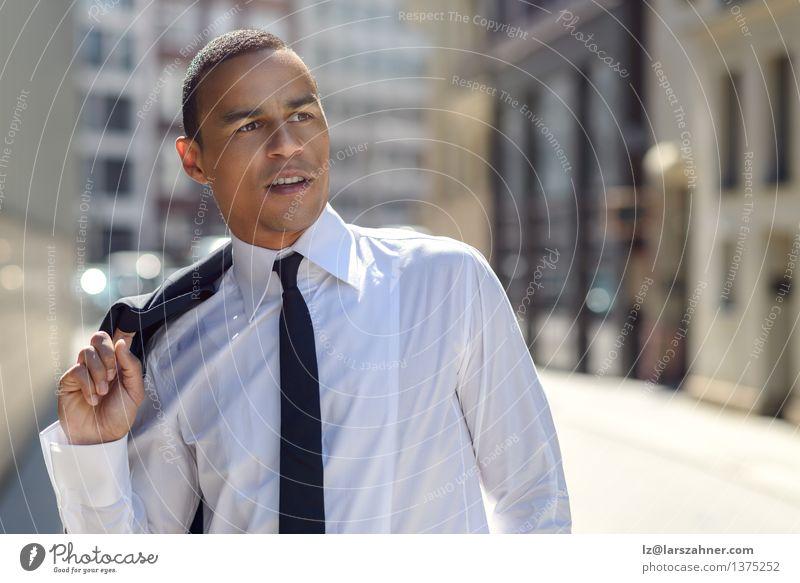 Handsome businessman walking in an urban street Style Face Summer Success Office Business Man Adults Warmth Street Fashion Shirt Jacket Tie Stand Modern Smart