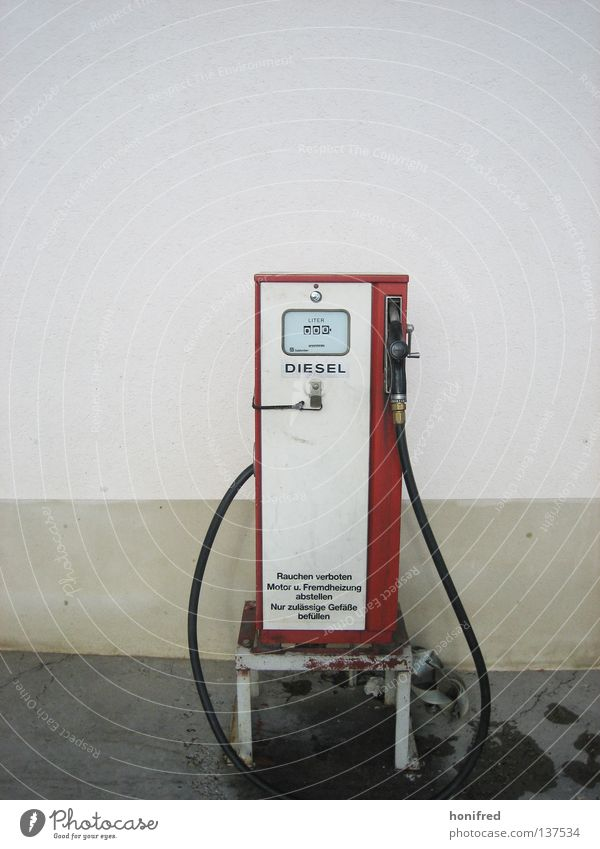 diesel times Diesel Things Petrol pump Refuel Petrol station Retro Red Spirit Style Liter No smoking Wall (building) Equip Gasoline Loneliness Squander