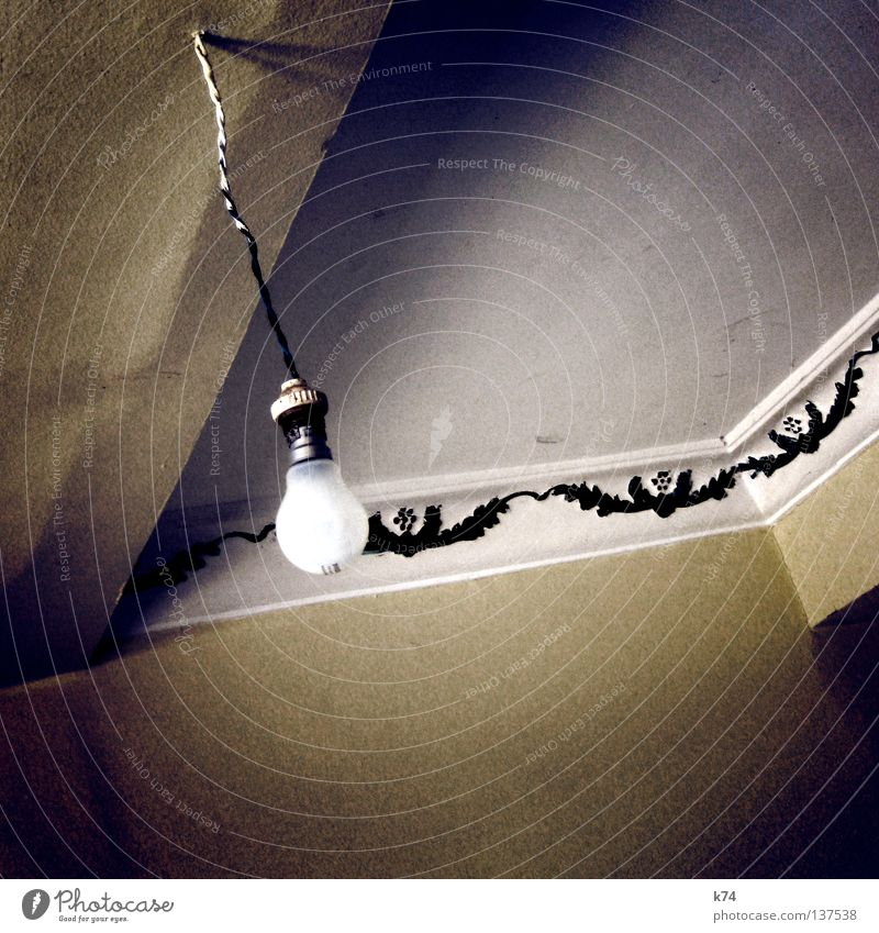 ceiling light Light Electric bulb Room Hotel Stucco Wall (building) Installations Electricity Power failure Glow Rotate Burn out Short-circuit Chandelier