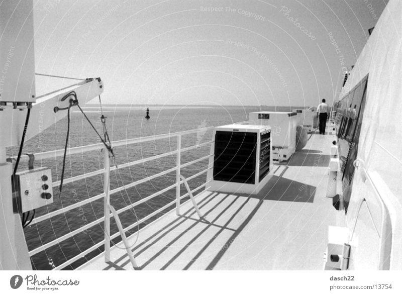 Water Sun Ocean Watercraft Waves Navigation Ferry Railing Upper deck