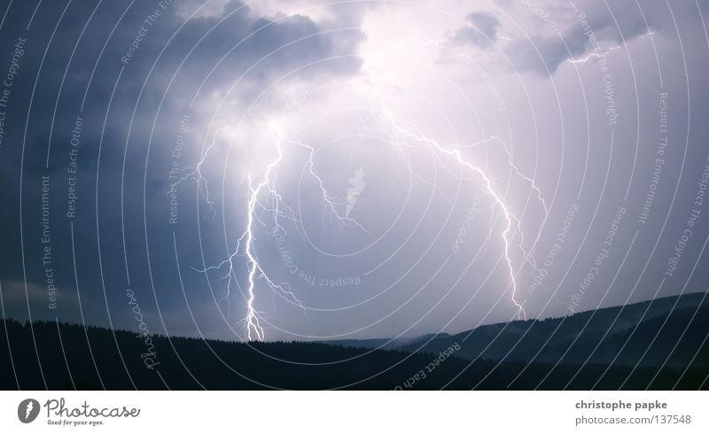 gosh Mountain Nature Landscape Sky Climate change Weather Storm Thunder and lightning Lightning Forest Dark Apocalyptic sentiment Threat Idea Unload Flash