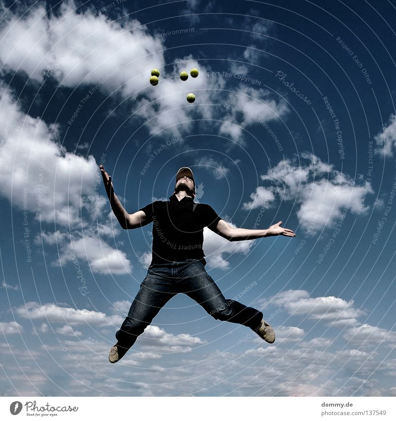 Man White Summer Joy Clouds Playing Movement Warmth Jump Feasts & Celebrations Footwear Arm Skin Flying Aviation T-shirt