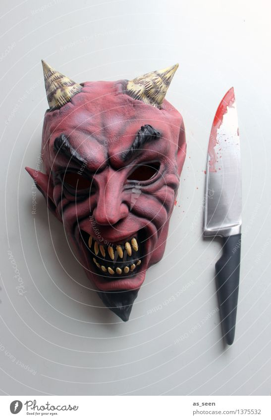 Red Dark Black Death Art Head Party Fear Threat Shows Mask Carnival Creepy Force Exotic Stage play