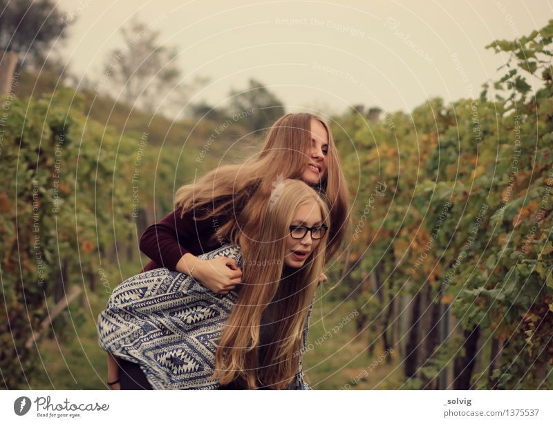 Up you go! Hair and hairstyles Feminine 2 Human being Field Blonde Long-haired Movement Smiling Laughter Together Happy Joy Happiness Contentment