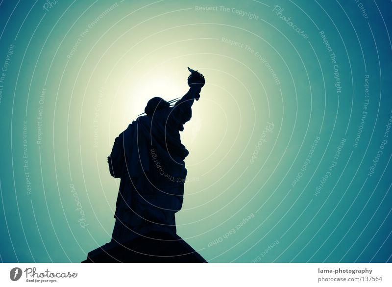 Heavenly Freedom New York City Manhattan Americas Symbols and metaphors Landmark Back-light Art Sightseeing Statue Sun Silhouette Graphic Monument Sky USA