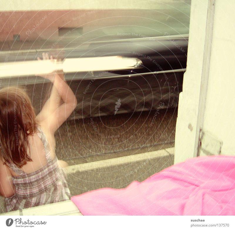 Child Girl Street Playing Movement Head Car Arm Sit Boredom Blanket Wave Entrance