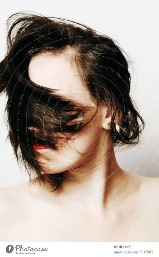 Woman Beautiful Face Style Hair and hairstyles Head Dance Wind Crazy Mask Anger Gale Facial hair Hide Brunette