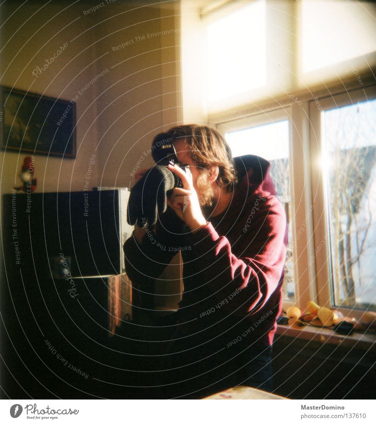 Man Black Window Room Photography Camera Analog Concentrate Holga Take a photo Gloves Nerviness Lens Blind Futile Anxious