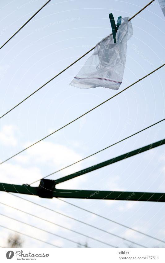 Sky Blue White Summer Clouds Black Gray Garden Line Rope Bag Dry Clothesline Hang up Plastic bag Clothes peg
