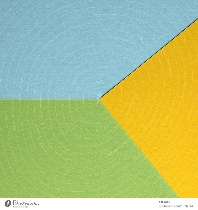 Yellow and blue mixed Cardboard Blue Green Handicraft Background picture Triangle Leisure and hobbies Illustration Graph Graphic Colour photo Interior shot