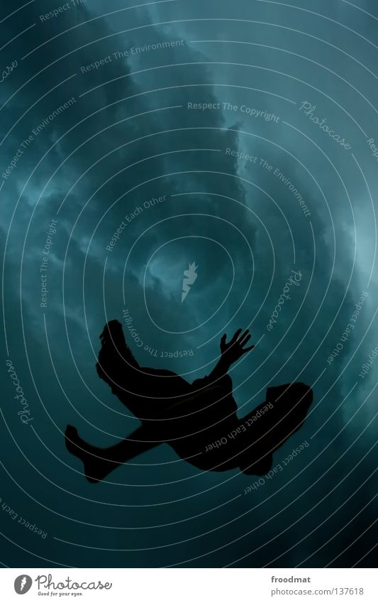 Human being Man Beautiful Clouds Dark Freedom Flying Bird Jump Rain Aviation Symbols and metaphors Dive Storm Heavenly