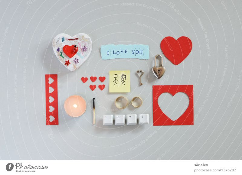 Red Love Emotions Gray Couple Characters Heart Gift Romance Sign Digits and numbers Candle Document Lovers Relationship Infatuation