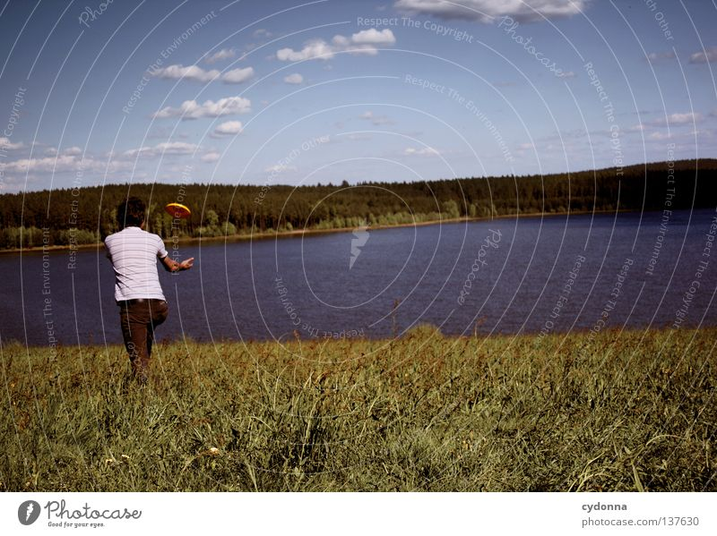 Human being Sky Man Nature Summer Joy Clouds Calm Far-off places Relaxation Meadow Life Landscape Playing Graffiti Emotions