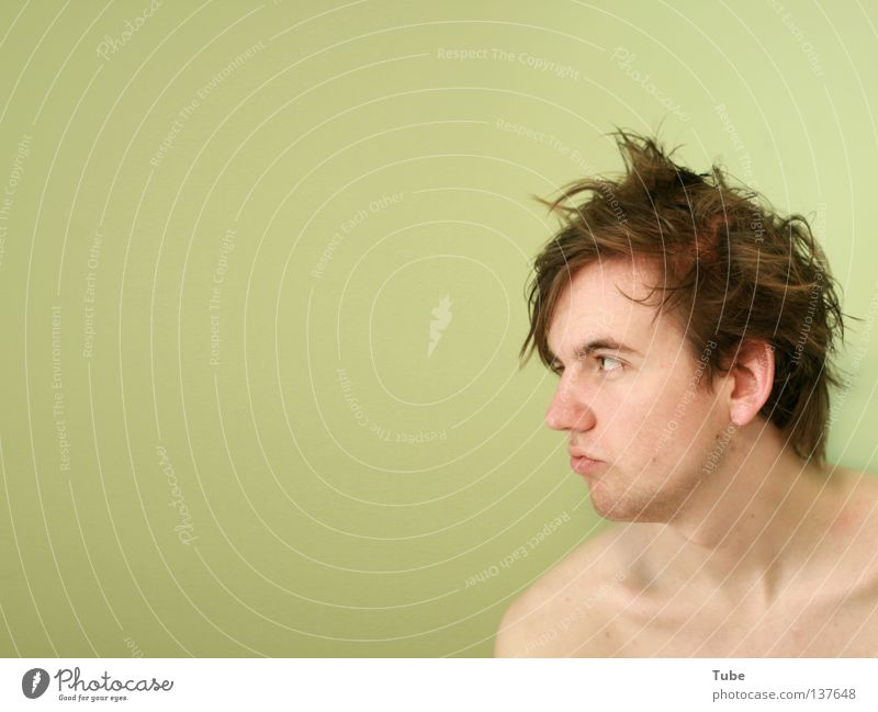 Human being Man Youth (Young adults) Green Wall (building) Naked Head Hair and hairstyles Style Brown Background picture Dirty Mouth Wet Skin Nose