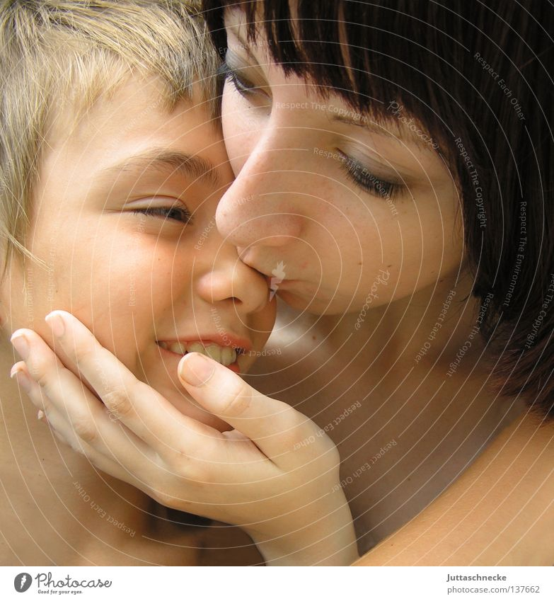 I love you. Child Boy (child) Girl Woman Love Like Caresses Kissing Brothers and sisters Cuddling Trust Together Touch Human being like oneself cuddly