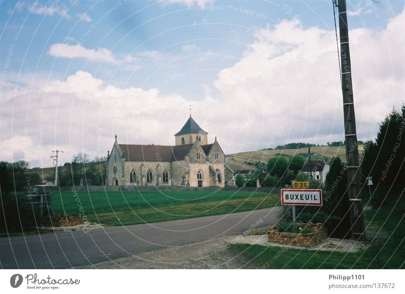 Entering Buxeuil Champagne France Village Rural Town sign Historic Church Outskirts Deserted Idyll Picturesque Copy Space top Village road Wine growing