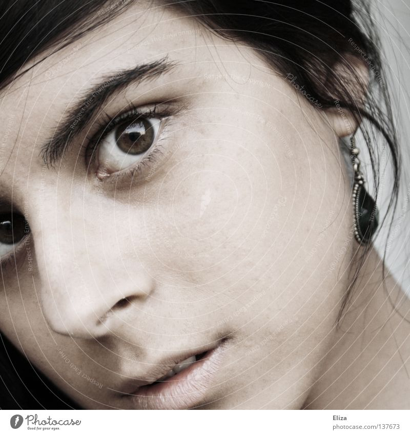 Human being Woman Eyes Emotions Sadness Think Dream Skin Mouth Curiosity Lips Delicate Earnest Earring Fascinating