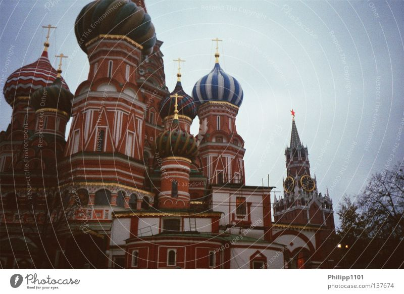 Basilius Cathedral and Redeemer Tower Red Square Moscow Orthodoxy Landmark Monument House of worship russia Saint Basil's Cathedral