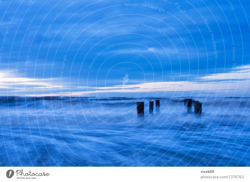 Nature Vacation & Travel Blue Water Ocean Landscape Clouds Beach Coast Tourism Waves Baltic Sea Gale Mecklenburg-Western Pomerania Break water