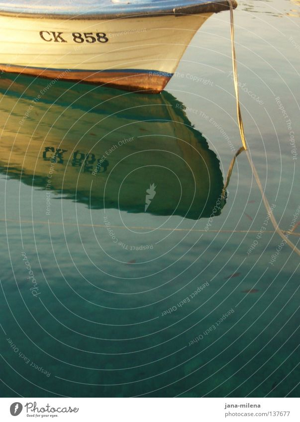 CK 858 Watercraft Soft Turquoise Surface of water Painting and drawing (object) Painted Reflection Vacation & Travel Calm Dream Summer Summery Ocean Lake