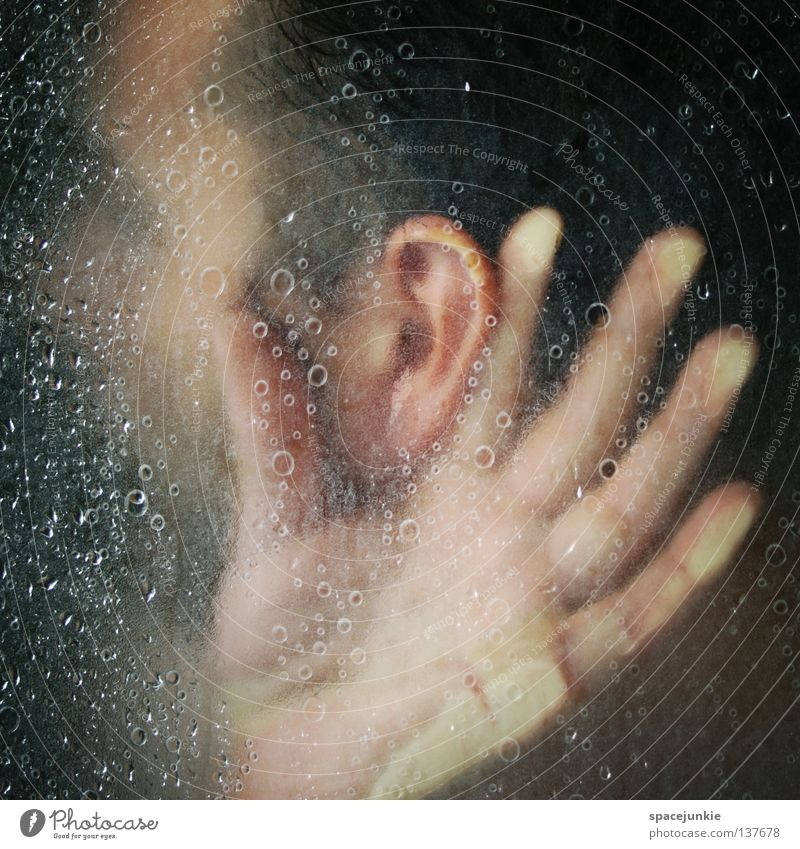 Man Water Joy Calm Drops of water Ear Listening Human being Whimsical Wash Freak Humor Senses Silent Take a shower