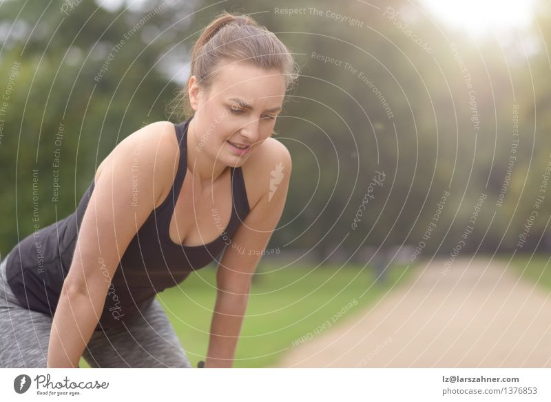 Woman Resting After their Outdoor Exercise Woman Girl Face Adults Lanes & trails Sports Lifestyle Friendship Park Action Copy Space Blonde Smiling Fitness Flare Jogging