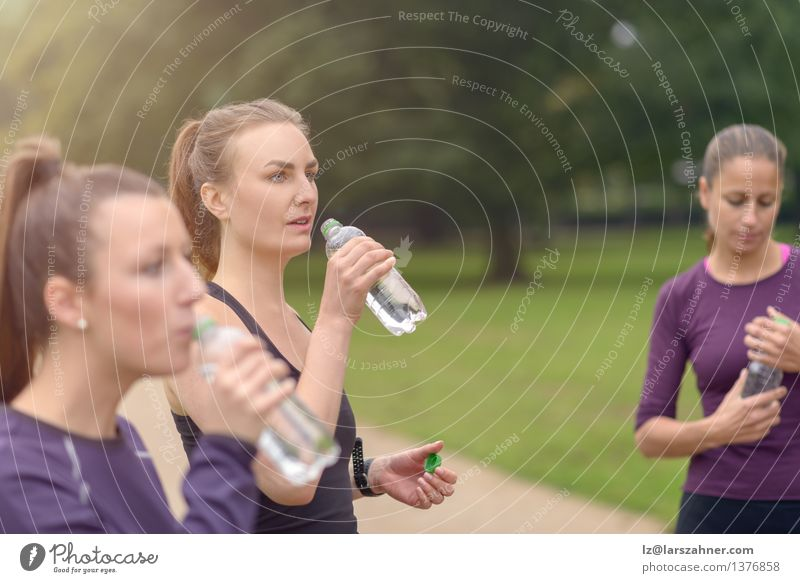Athletic Women Drinking Water After an Exercise Woman Green Summer Adults Sports Group Together Park Stand Plastic Pure Refreshment Bottle Practice