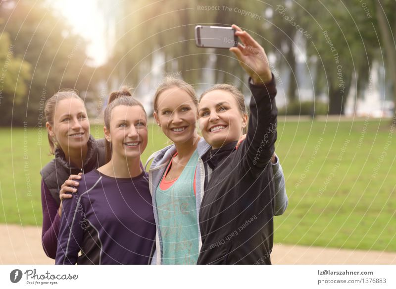 Happy Women Taking Selfie After Outdoor Exercise Woman Green Summer Adults Grass Sports Happy Group Friendship Park Leisure and hobbies Technology Smiling Photography Illustration Telephone