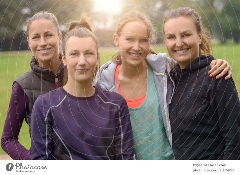 Four Healthy Women after outdoor exercise Woman Face Adults Lanes & trails Happy Friendship Park Action Success Smiling Fitness Thin Athletic Practice Beaded