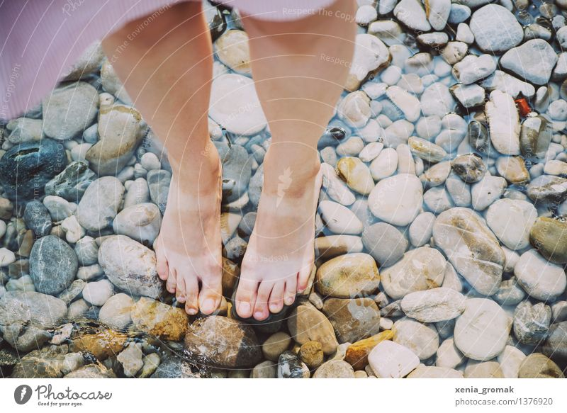 Human being Vacation & Travel Summer Sun Relaxation Calm Far-off places Beach Life Feminine Playing Lifestyle Freedom Swimming & Bathing Stone Feet