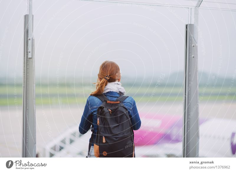 At the airport Lifestyle Leisure and hobbies Vacation & Travel Tourism Trip Adventure Far-off places Freedom Sightseeing City trip Summer vacation Feminine