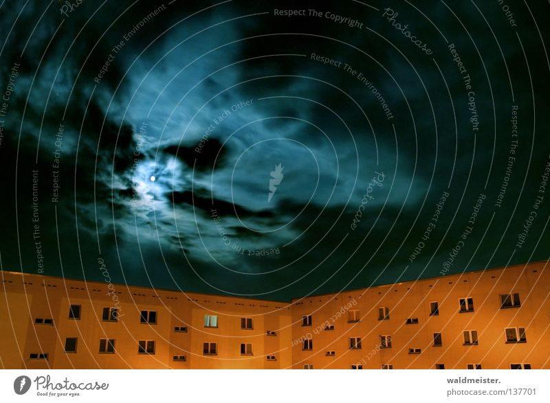 Sky House (Residential Structure) Clouds Moon Prefab construction Night shot Celestial bodies and the universe New building Moonlight Tower block New settlement