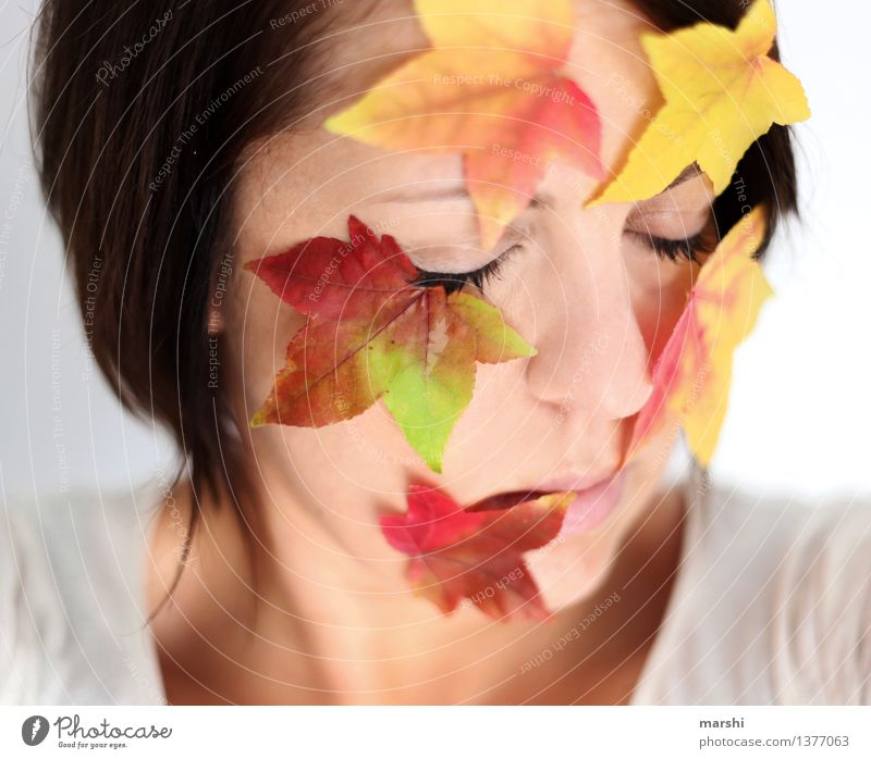 Autumn Love Human being Feminine Young woman Youth (Young adults) Woman Adults Head 1 30 - 45 years Nature Plant Leaf Emotions Moody Autumnal Autumn leaves