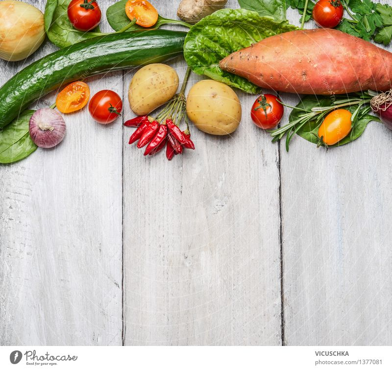 Organic farm vegetables and ingredients for healthy cooking Food Vegetable Nutrition Lunch Dinner Banquet Organic produce Vegetarian diet Diet Style Design